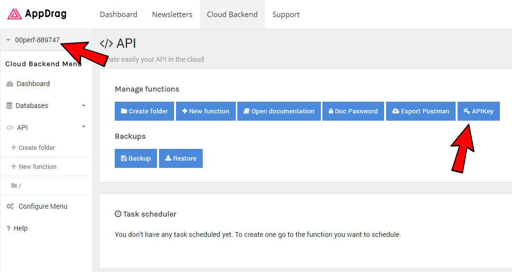 CloudBackend API Dashboard